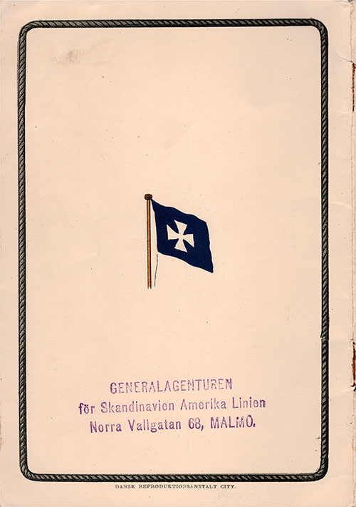 "Back Cover, 1912 Brochure ""Scandinavia to America,"" From The Scandinavian-American Line."