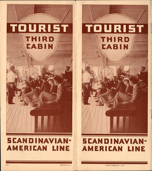 Brochure Cover for the Scandinavian-American Line Tourist Third Cabin from 1928.
