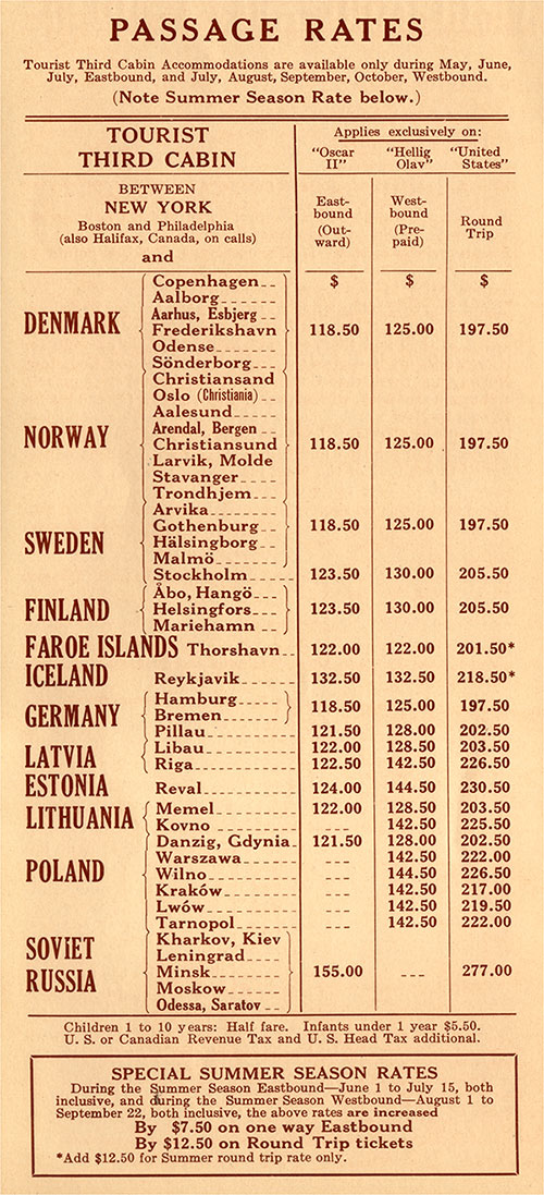 1928 Rate Schedule for Tourist Third Cabin on the SS Oscar II, SS Hellig Olav, and the SS United States