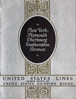 Front Cover of 1924 Brochure from the United States Lines for Travel Between New York and Several European Ports.