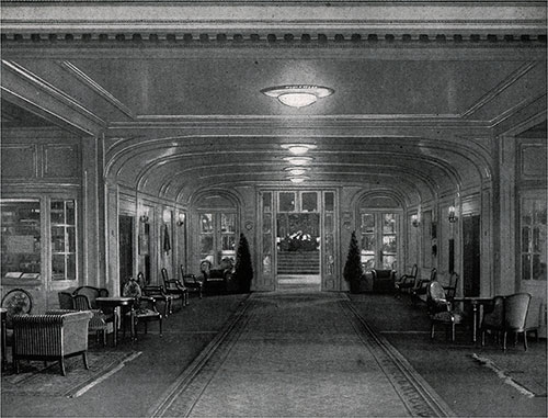 "The Lobby to the Main Saloon on ""B"" Deck."