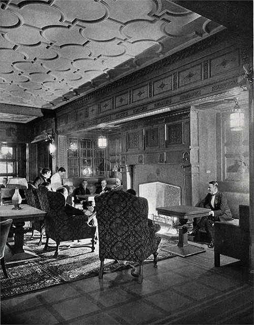 A View of the Smoking Room Showing the Fireplace.