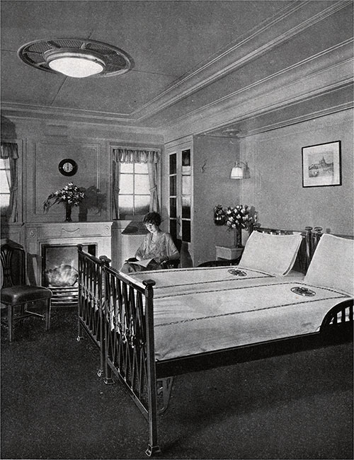 A Typical Stateroom with Fireplace.