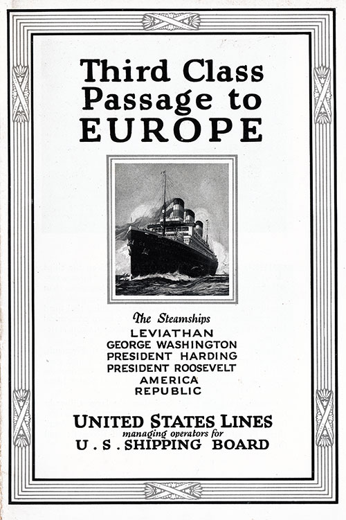 Front Brochure Cover, Third Class Passage to Europe - 1923