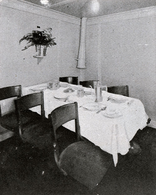 One of the Private Dining Tables Available for Third Class Passengers on the SS President Harding.