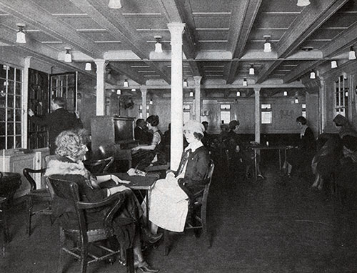 Passenger Relaxing in the Third Class Lounge on the SS America.