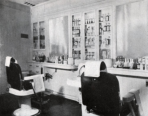Third Class Barber Shop on the SS Leviathan.