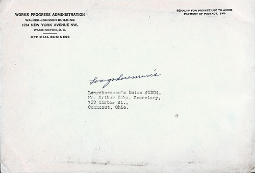Mailing Envelope, Our Job with the WPA 1937 - Longshoreman's Union, Connecut, OH.