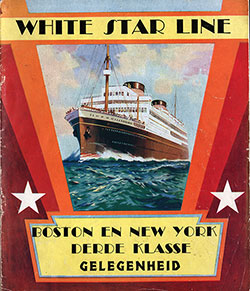 Front Cover of 1930 Dutch Brochure from the White Star Line: Boston and New York in the Third Class.
