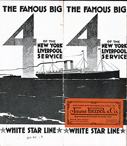 Front Cover, White Star Line Famous Big 4 - RMS Adriatic, RMS Baltic, RMS Cedric, and RMS Celtic dated 16 April 1909.