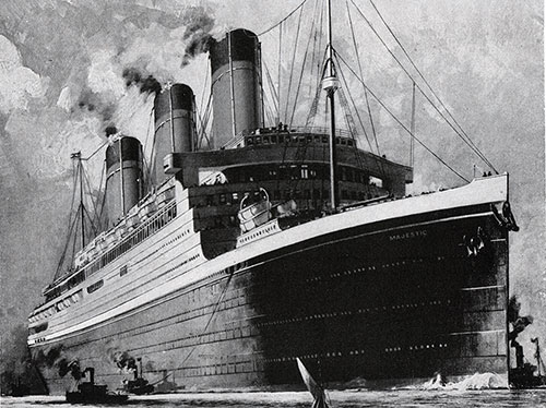 The RMS Majestic Crosses Between New York, Cherbourg, and Southampton in Under Six Days.