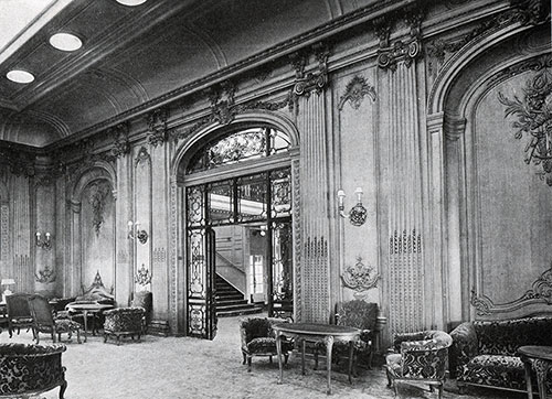 Entrance to the Lounge Showing Oak Paneling.