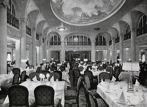 Lofty Central Hall of First-Class Dining Saloon.