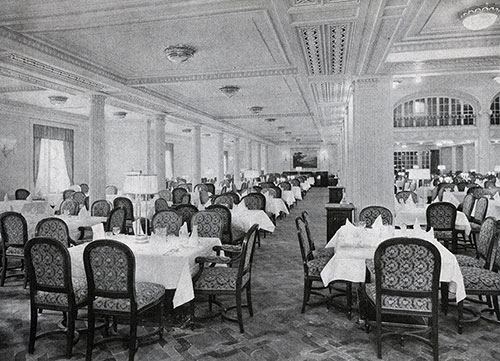 One Side of the First-Class Dining Saloon.