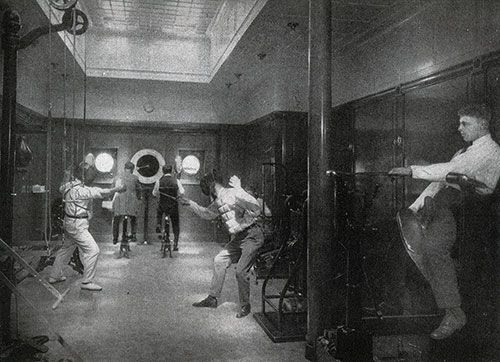 Passengers Exercising in the Gymnasium Using Varied Equipment.