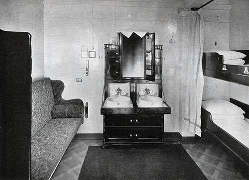 Second Class Stateroom with Outside Light.