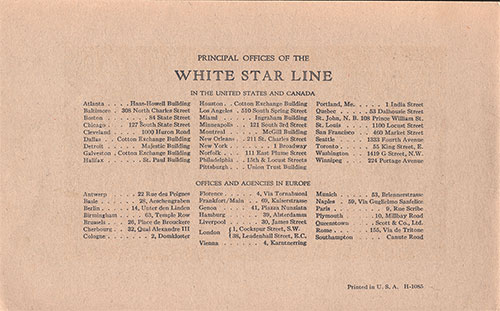 Principal Offices and Agencies of the White Star Line.
