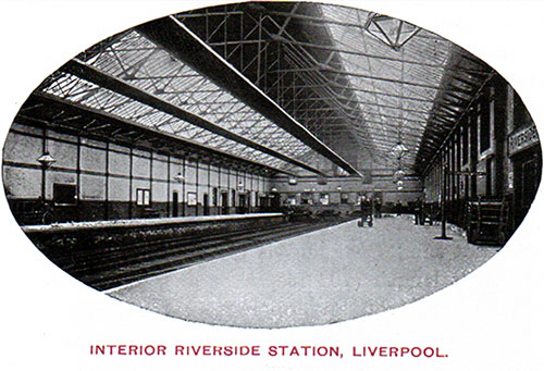 Interior View of the Riverside Station at the Port of Liverpool circa 1907.