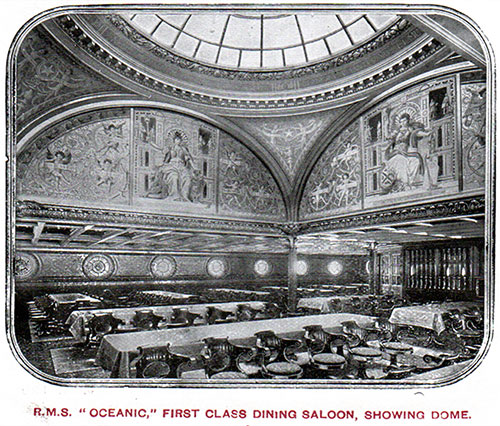 First Class Dining Saloon on the RMS Oceanic Showing Dome.