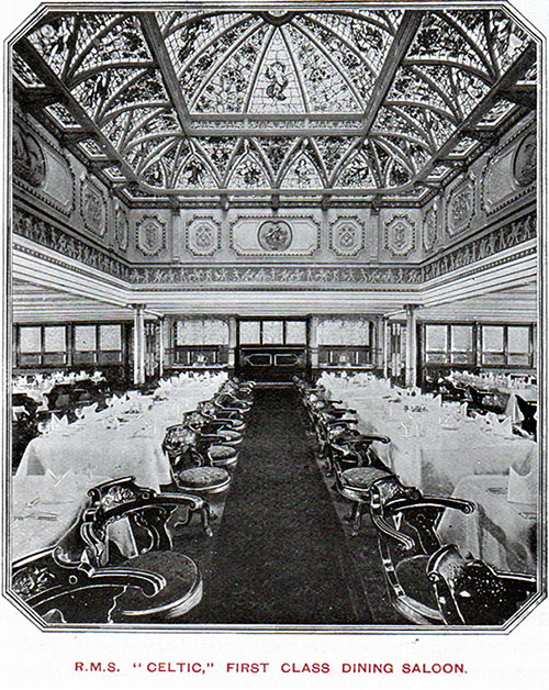 First Class Dining Saloon on the RMS Celtic.