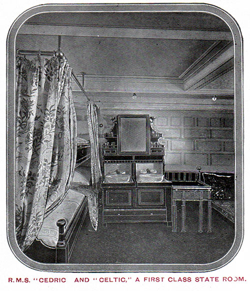 First Class Stateroom on the RMS Cedric and Celtic.