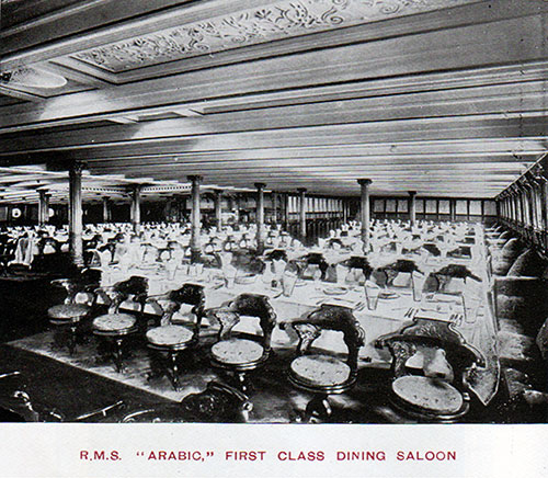 First Class Dining Saloon on the RMS Arabic.