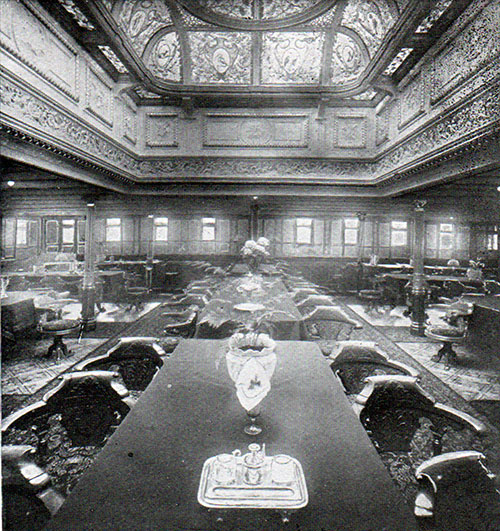 First Class Dining Saloon on the RMS Romanic.