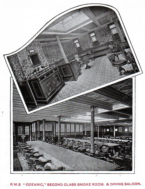 Second Class Smoking Room and Dining Saloon on the RMS Oceanic.