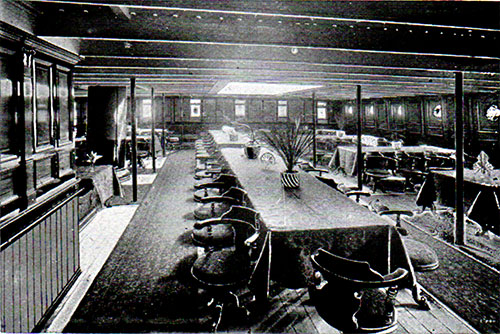 Second Class Dining Saloon on the RMS Romanic.
