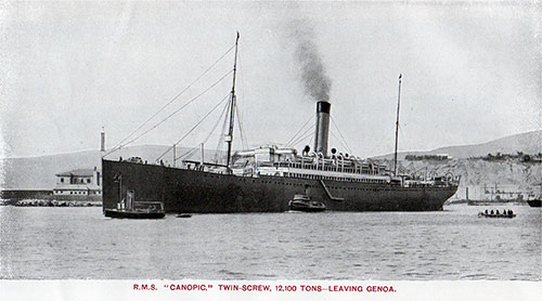 RMS Canopic, Twin-Screw, 12,000 Tons, Shown Leaving the Port of Genoa, Italy.