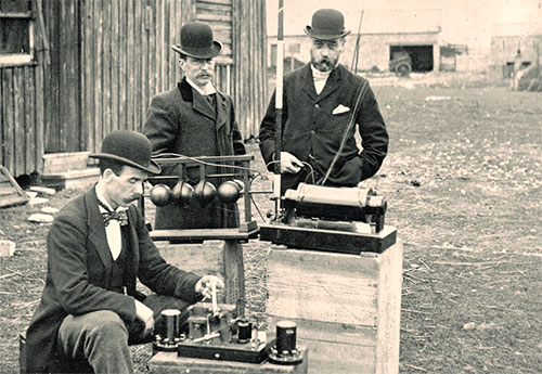 British Post Office Engineers Inspect Marconi's Radio Equipment During a Demonstration on Flat Holm Island, 13 May 1897.