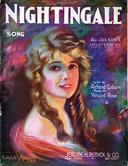 Front Cover, Nightingale Song - Al Jolson's Latest Song Hit.