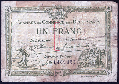 1 Franc Bank Note - Front Side