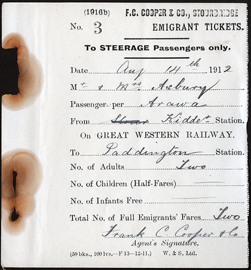 Emigrant Railway Ticket - UK 1912
