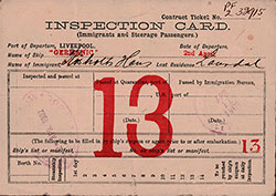 Front Side, Inspection Card for Immigrant and Steerage Passengers, for Norwegian Immigrant Hans Johansen Røsholt of Rårdal, Norway.