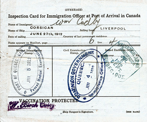 Steerage Passenger Inspection & Vaccination Card - Canadian Port of Entry - 1912
