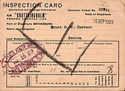 Front Side of Inspection Card - Swedish Immigrant (1923)