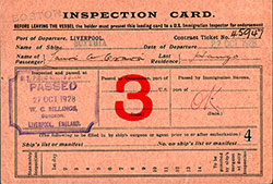 Front Side of US Immigration Inspection Card, Norwegian Immigrant, Lauri A. Grava from Haugo, Voss, Norway, Contract Ticket No. 45947, Departing from Liverpool on the RMS Scythia of the Cunard Line on 27 October 1928.