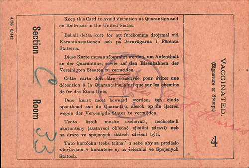 Back Side of US Immigration Inspection Card, Norwegian Immigrant, Lauri A. Grava from Haugo, Voss, Norway.