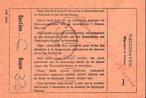 Back Side of US Immigration Inspection Card, Norwegian Immigrant, Josua Grava from Haugo, Voss, Norway.