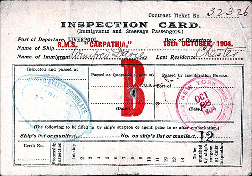 Front Side of Immigrant and Steerage Passengers Inspection Card on the RMS Carpathia of the Cunard Line.