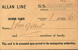 Second Cabin Landing Card - Canadian Port - Early 1900s