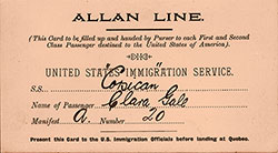 Landing Card - Canadian Port for U.S. Immigration Service - ca 1907