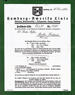 Passenger Transport Notification - Hamburg Amerika Linie 1922