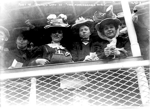 Some of the Baltic's Boatload of 1,000 Marriageable Girls Looking Down from the Railing on the White Star Liner.