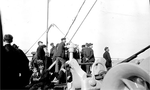 Steerage Passengers at the Bow of the SS Frederich der Gross circa 1915.