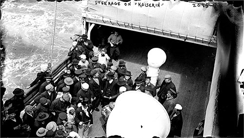 Steerage Passengers on the Deck of the SS Kaiserin Auguste Victoria circa 1906.