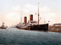 RMS Campania of the Cunard Line on the River Mersey circa 1900.