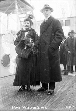 Photograph shows Brandon Whitlock, U.S. Ambassador to Belgium from 1914 to 1921 with his wife Ella (Brainerd) Whitlock