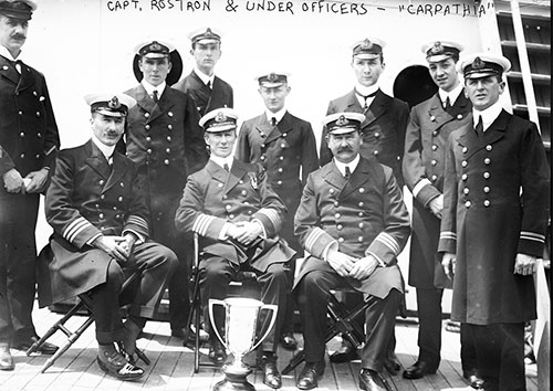 Captain Arthur Henry Rostron Next to the Silver Loving Cup Presented to Him in May 1912 by Survivors of the Titanic in Recognition of His Heroism in Their Rescue.